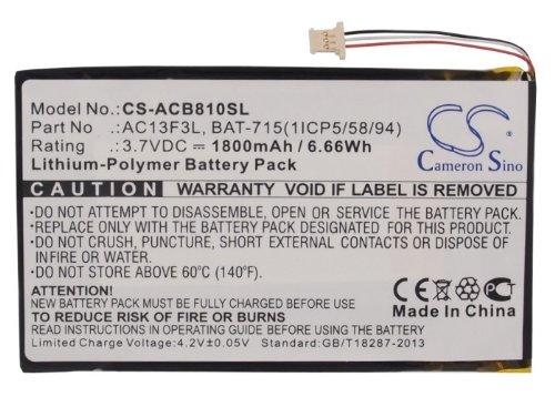 CS-ACB810SL Akku 1800mAh Kompatibel mit [ACER] B1-A71, Iconia B1-A71, Iconia B1-A71-83174G00nk, Tab B1 Ersetzt BAT-715(1ICP5/58/94), KT.0010G.002D 1800 Mah Bat