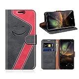 MOBESV Smiley Nokia 6 2018 Hülle Leder, Nokia 6.1 Tasche Lederhülle/Wallet Case/Ledertasche Handyhülle/Schutzhülle für Nokia 6.1 / Nokia 6 2018, Schwarz/Rot