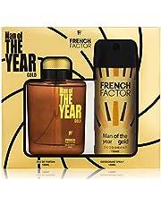 The French Factor Man of The Year Premium Gift Set For Men Eau De Perfume 100ml + Deodorant 150ml (Gold)