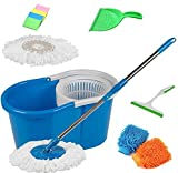 #7: MTC COMBO OF BLUE PVC Mop With Hand wiper, Sponge, Dustpan Microfiber Handgloves Product Colore May Vary