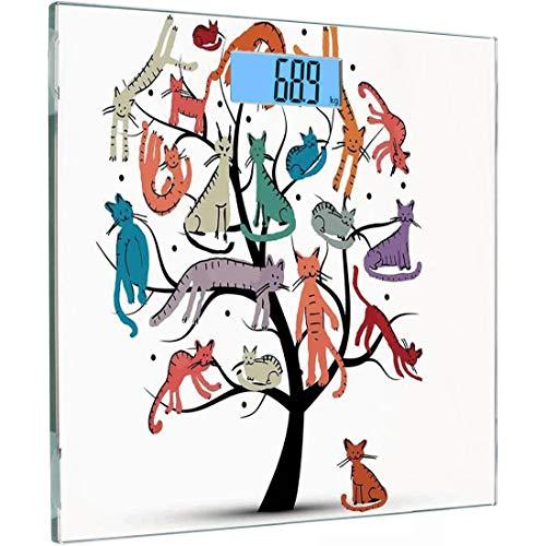 Ultra Slim Hochpräzise Sensoren Digitale Körperwaage Cartoon Dekor Gehärtetes Glas Personenwaage, Niedlicher Kratzbaum mit verschiedenen Kätzchen auf den Zweigen Kleine Pfoten Kindisch Fröhlich Art W (Kleine Kätzchen Beobachten)