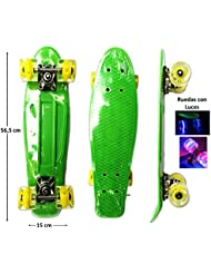 Monopatin Mini Cruiser tipo penny Retro Neon Verde con luces led