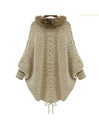 Babyonlinedress Capa de lana y algodón de mujer para otoño e invierno cuello de pelo manga larga de forma de murciélago sin cremallera y botones estilo casual y holgado