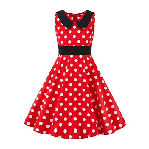 Livoral Madchen Geschenke 6 Jahre Kinder Teen Kinder Mädchen Vintage 1950er Jahre Retro ärmellose Blumendruck lässige Kleidung(Rot,X-Large)