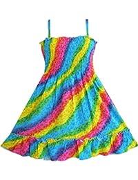 Mädchen Kleid Regenbogen Smok Halfter
