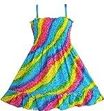 Mädchen Kleid Regenbogen Smok Halfter Gr.86 - 92