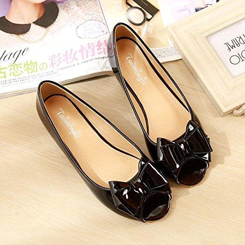 &qq Poissons bouche chaussures, chaussures plates, chaussures dames, plat avec des sandales pour femmes 36