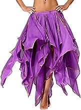 Panel de danza del vientre Tribal Seawhisper 16 hornoy abertura lateral con gradas falda con borde brillante