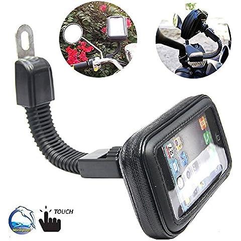 BrainWizz ® Servicio Motocicleta / Ciclomotor impermeable con brazo articulado para iPhone y smartphones 5/5S/4/4S tamaño