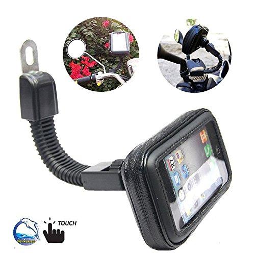 BrainWizz® supporto di fissaggio per ciclomotore / motocletta / scooter / Vespa / bicicletta con custodia impermeabile, braccio snodato e articolato per iPhone 6/6S e smartphone di dimensioni equivalenti (135 millimetri x 65mm)