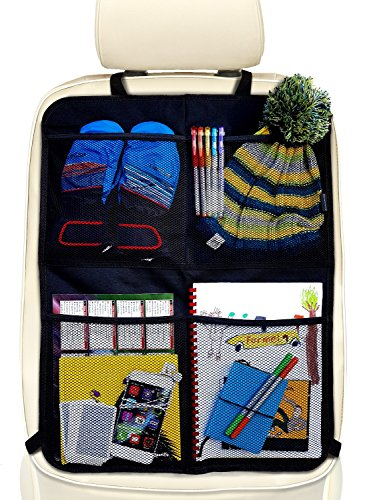 Systemoto Auto Rücksitz Organizer mit 4 Großen Taschen (1 Stück) - Autositz Organizer mit Trittschutz - Sitzschutz für Auto Rückenlehne - Vordersitz Schutz Kinder - Sitz-Schoner, Kickmatte (Schwarz) -