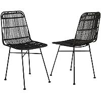 elia lot de 2 chaises en rotin noir pieds en mtal ethnique l - Chaise Rotin Noir