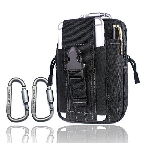 Outdoor Camping Taille Tasche 2 Karabiner Klettern Tasche Wandern Taille Gürtel Brieftasche Tasche Geldbörse Telefon Fall Schlüssel Tasche (Black) (Hose Flache Taille)