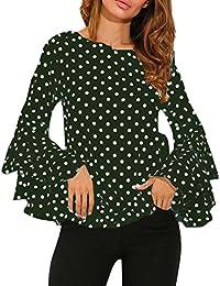 906dbd35f Gusspower Moda De Las Mujeres Manga de Campana Camisa Suelta del Lunar  Señoras Casual Blusa Tops