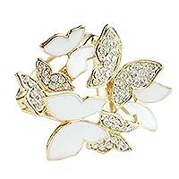 Three Circle Rings Butterflies Rhinestone Scarves Clip Slides Silk Scarves Metal Buckle Clips Gold