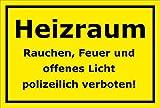 Schild Heizraum Rauchen Feuer und offenes Licht polizeilich verboten – 15x20cm, 30x20cm und 45x30cm – Bohrlöcher Aufkleber Hartschaum Aluverbund -S00135C