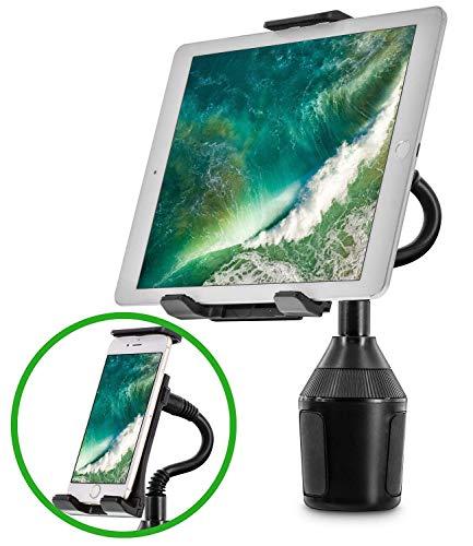 r Halterung für Handy Tablet, 2-in-1 iPhone iPad Car Mount Verstellbarer Schwanenhalshalter für alle Smartphones und Tablets Universal ()