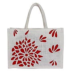 Utsav Kraft Red Floral Print on Premium White background Designer Jute Bag, 38*28*10 cm
