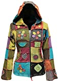 Shopoholic FASHION DAMEN Liebe Frieden Patchwork Hippy Kapuzenjacke - Multi, Small