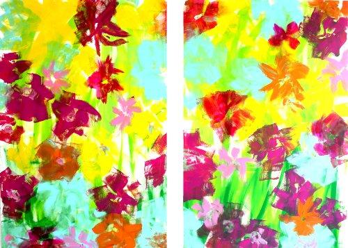"""BLUMENBUNT"" Original Kunst – Leinwandbild - Floral 200 x 150 cm"