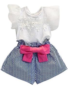 Blusas de niñas, FAMILIZO Los Bebés Niñas Camiseta De Encaje De Encaje + Pantalones Rayados Set Traje De Ropa