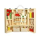 WMAOT Jouet en Bois Bricolage de Charpentier, Jeu d'imitation Etabli Boîte à Outils pour Enfants (36 Pcs)