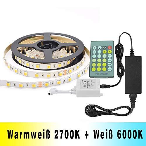 Dual Weiß LED Streifen Lichtband Tunable White 2700K-6000K Kaltweiß & Warmweiß 5M SMD5050 300 LEDs Bi-Color CCT LED Strip Einstellbare mit Fernbedienung & Netzteil Dual-white Led