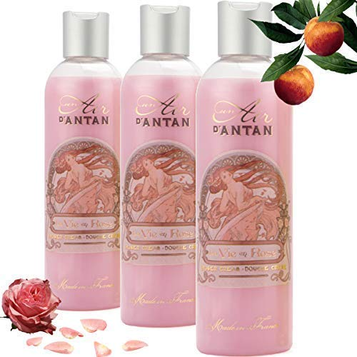 3er Set - Französisches Vintage Duschgel Rose - Un Air d'Antan Parfum : Rose, Pfirsich, Patschuli. Intensiv Pflegend und Effektiv Reinigend – Für Sie oder als Geschenke - Angebote 3er Pack (3x250ml)