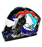 YOJDTD Casco moto casco integrale casco estivo locomotiva casco casco, fiore frontale con trasparente_L