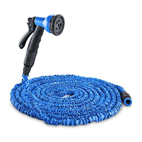 Waldbeck Water Wizard 22 • Flexibler Gartenschlauch • Wasserschlauch • Flexschlauch • Bewässerung • 8 Funktionen • dehnbar bis 22,5m • Sprühbrause • selbstaufrollend • Wasserhahn Adapter • blau