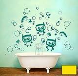 Wandtattoo Wandaufkleber Eule Eulchen Wandtattoo Eulen Eule Taucherbrille Fische Bubbles M1503 - ausgewählte Farbe: *Zitronengelb* ausgewählte Größe:*M 80cm breit x 80cm hoch