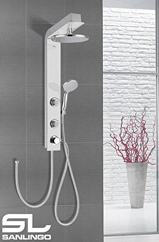 Preisvergleich Produktbild Duschpaneel mit Glas Duschsäule Weiss Weiß Regenschauer Handbrause Massage Sanlingo