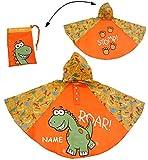 Regenponcho / Regencape - Dinosaurier - Dino - incl. Name - Gr. 104 - 110 - 116 - 122 - 128 - circa 3 bis 6 Jahre - für Kinder - Jungen - Dinos - Fahrrad / Regen Poncho - Regenmantel Regenjacke - orange
