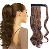 "17"" Queue de Cheval Postiche Extension de Cheveux Ondulé - Wrap Around Ponytail Clip in Hair Extensions - Marron foncé/Marron café (43cm-120g)"