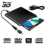 Externe Graveur Lecteur CD DVD Blu Ray 3D USB Type C USB 3.0 Ultra Slim de DVD CD-RW pour Mac OS, Linux, PC Windows XP/Vista / 7/8/10