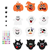 Halloween Stickers Pumpkin Decoration Crafting Kit - 12 EVA Foam Boards/12 Face Stickers/81 Self-Adhesive Rhinestone Sticker & 24 Wiggle Eyes