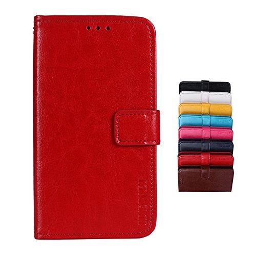 Brand Set® TP-Link Neffos X9 Hülle Brieftasche Handyhülle Kunstleder Flip Case mit sicherer Magnetverschlussverriegelung & Stent-Funktion,geeignet für TP-Link Neffos X9 (Rot)