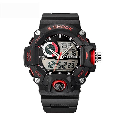 MIAO Outdoor Multi-Function Dual Display 50 Meter wasserdicht Sport Student Electronic Watch mit Woche Display/Alarm/Kalender/Chronograph/Luminous/month Display , red (Electric Alarm Uhr Shock)