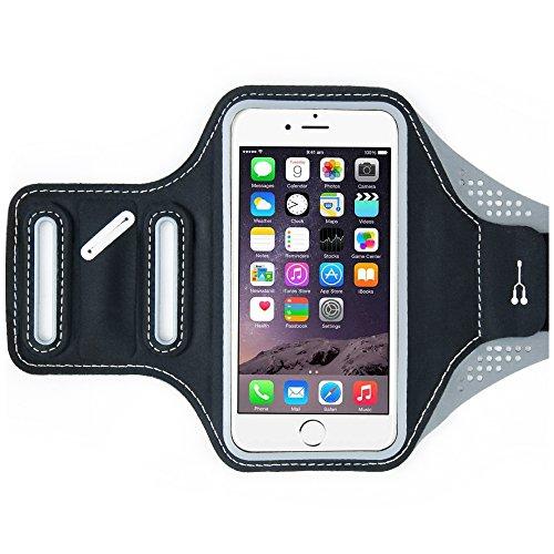 NEVEQ Sportarmband Schwarz für Apple iPhone 6/6S/7 Plus. Premium Laufarmband und Armtasche, wasser- & schweißresistent mit extra Schlüsselfach und Kopfhörerkabelhalterung kompatibel mit Samsung Galaxy A5/A7/S5/S6/S7/S7 Edge/J5/J7. Ideal für Laufen, Joggen, Fitness, Fitnessstudio und Wandern. Passende Armhülle für Asus Zenfone, Google Pixel XL, Sony Xperia, Nokia Lumia, Xiaomi Mi5, Lenovo, Huawei, HTC, OnePlus 3 etc. Größe (5-6 Zoll Display)