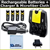 (4) Rechargeable AA Batteries + AC/DC Ca...
