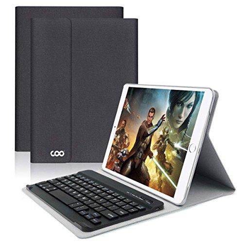 COO Funda con Teclado Español iPad 2018 / 2017, 9.7 pulgada Funda Ultraliviano con Teclado Bluetooth Desmontable Inalámbrico para iPad Air 2 / 1, iPad 2018, iPad 2017, iPad Pro 9,7 con Soporte Multiángulo (Gris negro)
