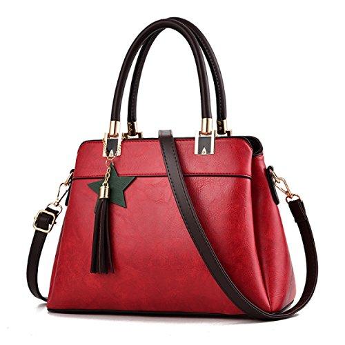 Frauen Einfache Retro Tote Tasche Fashion Classic Schulter Messenger Bag Schwarz Pu-leder Handtaschen Red