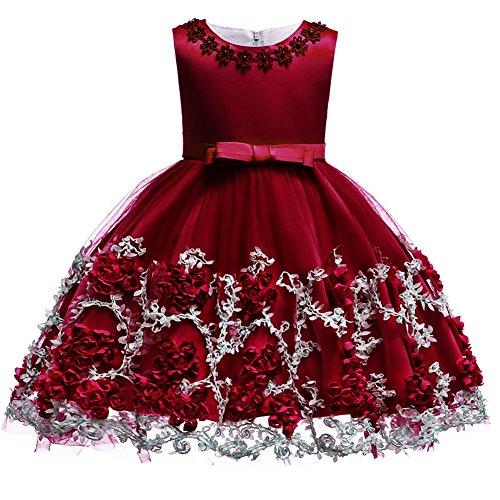 OwlFay Baby Mädchen Party Kleid Blumenmädchen Hochzeitskleid Brautjungfer Kleid Infant Kleinkind Mädchen Sleeveless Tutu Prinzessin Kleid Geburtstag Kleid Baby Taufkleid Festzug Rot 18-24 ()