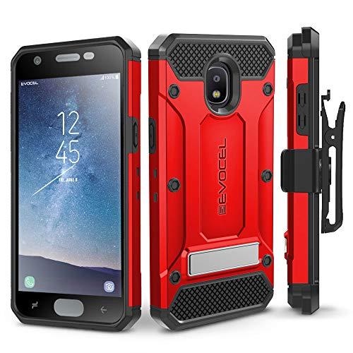 Galaxy J32018Fall, evocel [Explorer Pro-Serie] mit Glas Displayschutzfolie und Metallständer für Samsung Galaxy J32018(sm-j337)/Express Prime 3/Erreichen/Star, Rot - T-mobile Telefono