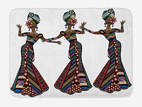 Kostüm Wetter Themen - Afrikanische Frauen Badematten, Junge Frauen in Kostümen Aboriginal Thema eleganten Karneval Festival Tanz Tanzbewegungen, Plüsch Bad Dekoration Teppich mit Antirutsch-Unterstützung, Mult