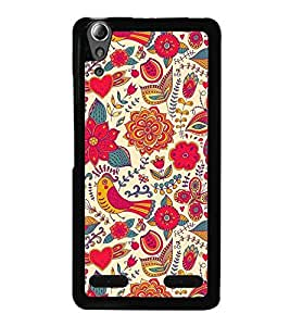 Fuson Premium 2D Back Case Cover Pink Pattern With Yellow Background Degined For Lenovo A6000