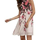 HOT!!! Amlaiworld Femmes Robes courtes d'été Cou rond floral occasionnel Découper robe sans manches