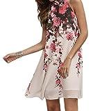 Hmeng Kleid, Sommer Kurze Kleider Casual Frauen Blumen Rundhals Ausschnitt Ärmelloses Kleid (XL, Weiß)