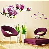 Flor De Magnolia Púrpura Pegatinas De Pared Dormitorio Salón Pegatinas De Pared Decoración Para El Hogar Sala De Etiqueta Engomada Del Papel De Vinilo Tatuajes De Pared150X55Cm