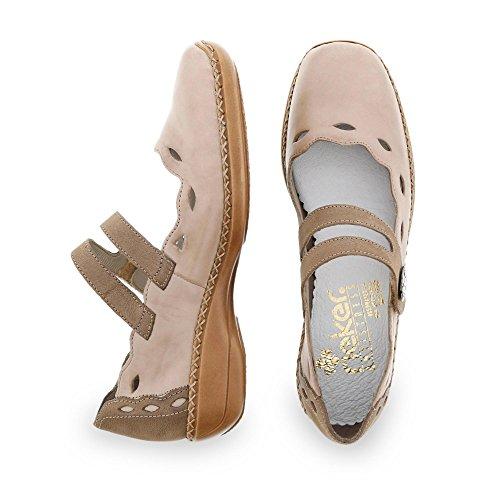 Rieker 41336/60, Chaussures de ville femme Beige (Beige Combiné)